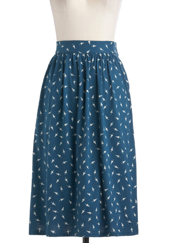 Chance of Cute Skirt by People Tree - Blue, White, Print, Casual, A-line, Long, Novelty Print, Cotton, Eco-Friendly, International Designer