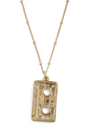 Planet of the Tapes Necklace - Gold, Vintage Inspired, 80s, 90s, Quirky