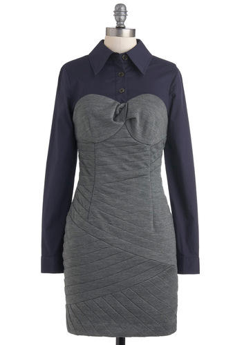 Plenty by Tracy Reese Seams Right Dress by Plenty by Tracy Reese - Mid-length, Grey, Blue, Buttons, Shirt Dress, Long Sleeve, Fall, Collared, Work