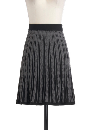 Willing and Cable Knit Skirt by Knitted Dove - Mid-length, Grey, Black, Knitted, A-line, Work, Casual, Fall, Winter