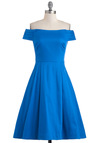 Kettle Corn Dress in Blue by Emily and Fin - Blue, Solid, Party, Cotton, Mid-length, Vintage Inspired, 50s, Exclusives, Cocktail, Off the Shoulder, Fit & Flare, International Designer, Special Occasion, Prom, Wedding, Bridesmaid