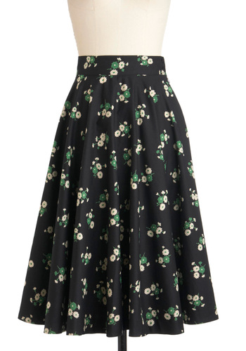 Twirling Through Town Skirt by Emily and Fin - Cotton, Black, Green, Tan / Cream, A-line, Floral, Work, Casual, Vintage Inspired, 50s, International Designer, Long