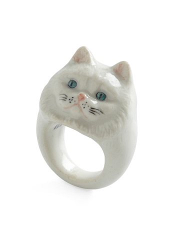 Constant Companion Ring in Persian Cat - White, Multi, Quirky