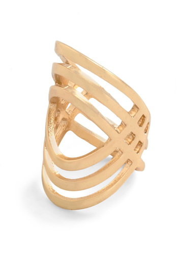 Out of Line Ring - Gold, Solid