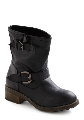 Back Bay Boot - Black, Buckles, Low, Military, Menswear Inspired