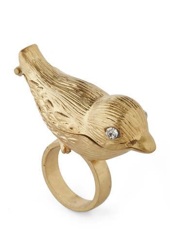Mum's the Bird Ring - Gold, Solid, Rhinestones, Statement