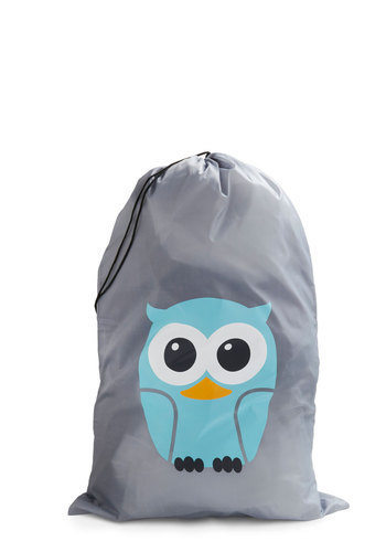 Whos Hoot? Laundry Bag by Kikkerland - Grey, Blue, Black, White, Print with Animals, Orange, Owls, Dorm Decor, Holiday Sale, Graduation, Eco-Friendly, Good