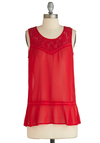 Sheer as Day Top - Sheer, Chiffon, Red, Solid, Lace, Sleeveless, Casual, Mid-length