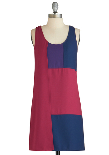 Sample 2267 - Pink, Blue, Purple, Party, Colorblocking, Sheath / Shift, Sleeveless