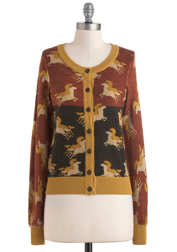 Kim's Foals Rush In Cardigan by Knitted Dove - Mid-length, Multi, Red, Yellow, Grey, Buttons, Long Sleeve, Print with Animals, Scholastic/Collegiate, Fall, Button Down