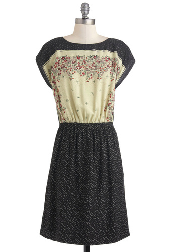 A Dot to Fall For Dress by Nice Things - Mid-length, Black, Tan / Cream, Casual, Shift, Short Sleeves, Polka Dots, Floral, Boat, International Designer