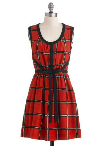 Hip to Be There Dress - Red, Black, Plaid, Belted, Casual, Vintage Inspired, A-line, Sleeveless, Fall, Short, Scholastic/Collegiate