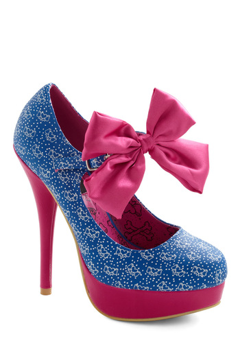 Atta Girly Heel - Blue, Pink, White, Print, Bows, Girls Night Out, Platform, High