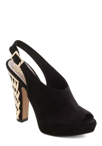 Empire State of Style Heel - Black, Gold, Platform, Peep Toe, Slingback, Party, Girls Night Out, Luxe, Holiday Party, Leather, High