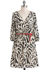 Call of the Wildcat Dress - Tan / Cream, Animal Print, Belted, A-line, 3/4 Sleeve, Mid-length, Black, V Neck