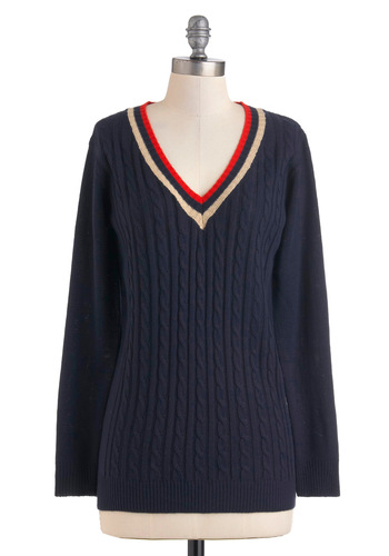 Badminton out Back Sweater - Blue, Red, White, Long Sleeve, 80s, Scholastic/Collegiate, Fall, Mid-length, V Neck