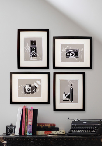 Shutter to Think Print Set - Grey, Dorm Decor, Mid-Century, Black, White