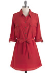 Belle Pepper Tunic - Red, Long, Solid, Casual, Menswear Inspired, Scholastic/Collegiate, Belted, Button Down, Collared