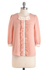 Bow to Ballet Top - Sheer, Mid-length, Pink, Tan / Cream, Bows, Ruffles, Party, Pastel, Work