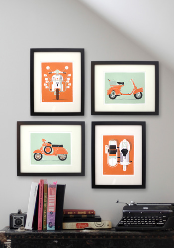 Rome About Print Set - Orange, Dorm Decor, Mid-Century