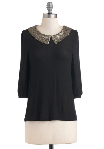 Shining S-collar Top - Black, Silver, Peter Pan Collar, Sequins, Mid-length, Party, Vintage Inspired, Glitter, Sheer, Jersey, Collared, Formal, Cocktail, Girls Night Out, Holiday Party
