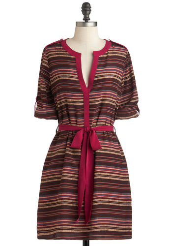 Rec Room Revival Dress - Mid-length, Brown, Multi, Stripes, Belted, Casual, Shift, Long Sleeve, Fall, Tis the Season Sale