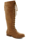 Collected Stories Boot - Tan, Solid, Lace Up, Low, Faux Leather, Casual, French / Victorian