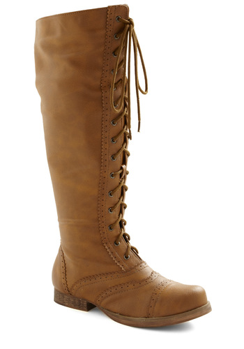Collected Stories Boot - Tan, Solid, Lace Up, Low, Faux Leather, Casual, French / Victorian, Top Rated