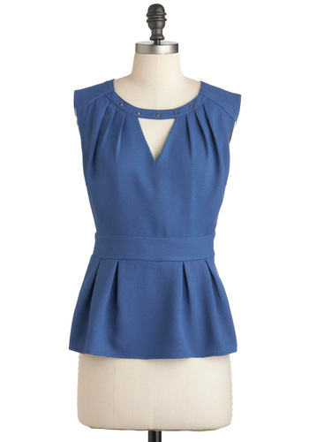 My Thoughts Exec-ly Top - Blue, Solid, Cutout, Pleats, Rhinestones, Sleeveless, Mid-length, Party, Work, Peplum