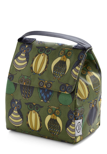 Owl the Better Lunch Bag - Cotton, Green, Owls, Mid-Century, Work, Scholastic/Collegiate