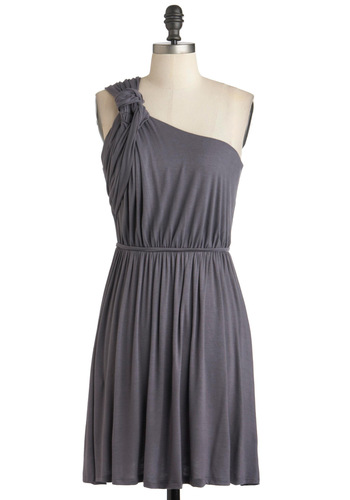 Grecian Earn Dress - Grey, Solid, One Shoulder, Ruching, Off the Shoulder, Mid-length, Jersey, Party