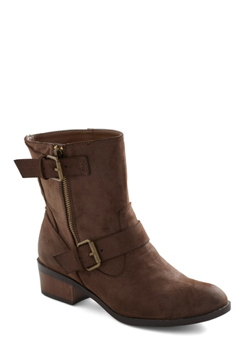 Ride It Out Boot - Brown, Buckles, Casual, Rustic, Fall, Low, Chunky heel, Faux Leather