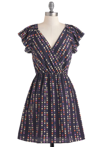 Straight and Arrow Dress - Mid-length, Blue, Print, Cap Sleeves, Multi, Casual, A-line, V Neck, Chevron