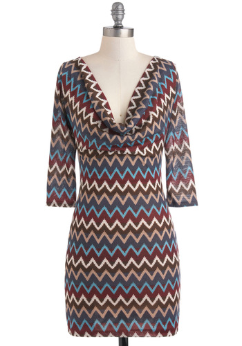 Playing My Song Dress - Mid-length, Multi, Red, Blue, Brown, Tan / Cream, Print, Sheath / Shift, 3/4 Sleeve, Fall, Casual, Cowl