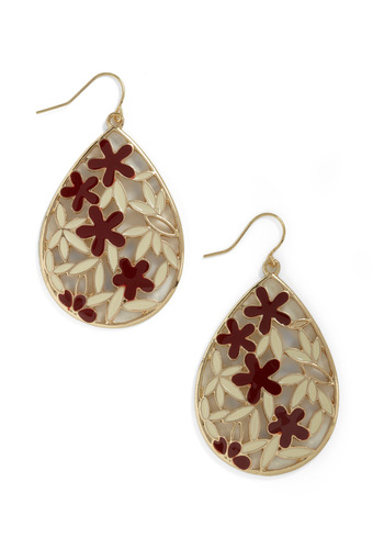 Droplets Dance Earrings in Cream and Brick - Red, Cream, Gold, Flower, Daytime Party