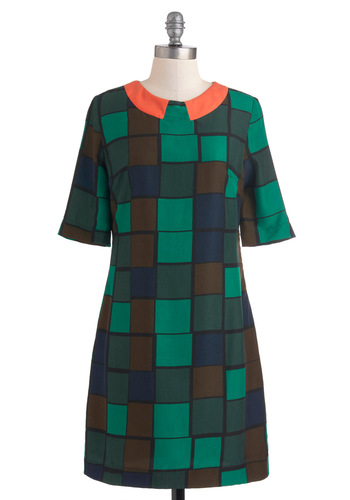 A Square to Remember Dress by Louche - Mid-length, Green, Orange, Blue, Brown, Print, Casual, Shift, Short Sleeves, Fall, Mod, Neon, Collared, Colorblocking, International Designer