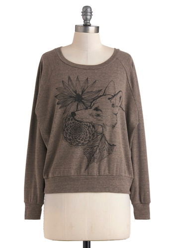 Contemplative Canine Top - Black, Casual, Long Sleeve, Print with Animals, Brown, Quirky, Fall, Short, Crew, Travel