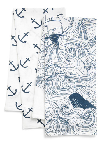Swell Acquainted Tea Towel Set - Cotton, Blue, Nautical, White, Novelty Print