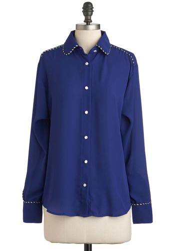 Line Dance with Me Top - Chiffon, Sheer, Blue, White, Trim, Long Sleeve, Casual, Menswear Inspired, Rustic, Button Down, Collared