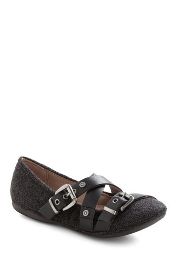 Strappy Hour Flat - Buckles, Flat, Black, Grey, Casual, Urban, Leather, Variation