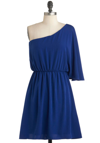 Girl Is On Sapphire Dress - Blue, Party, A-line, One Shoulder, Mid-length, Solid, Minimal, Prom