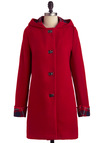 Busy Borough Coat by Louche - Long, Red, Solid, Pockets, Long Sleeve, 3, Casual, Vintage Inspired, Fall, Winter, International Designer
