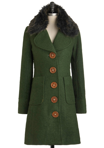 Love You For-evergreen Coat by Knitted Dove - Long, Green, Brown, Pockets, Long Sleeve, 3, Party, Film Noir, Vintage Inspired, Winter
