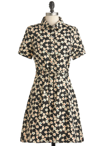 Merry Poplin Dress by People Tree - Multi, Floral, Casual, Shirt Dress, Short Sleeves, Mid-length, Pockets, Belted, Multi, Tan / Cream, Black, Buttons, Cotton, Button Down, Collared, Eco-Friendly, Fit & Flare, International Designer