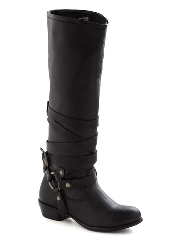 Stride Around Town Boot - Low, Leather, Black, Buckles, Casual, Rustic, Fall