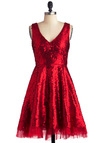 Striking Gold Dress in Red - Short, Red, Solid, Sequins, Party, A-line, Sleeveless, Holiday Party, Cocktail, Fit & Flare, V Neck, Statement