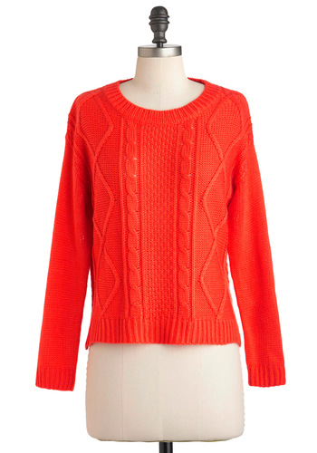 Coral Keeps You Warm Sweater - Short, Orange, Solid, Long Sleeve, Casual, Fall, Coral