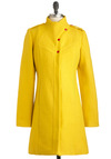 Lauren Moffatt The Sun Will Come Coat by Lauren Moffatt - Long, Yellow, Red, Pockets, Long Sleeve, 4, Solid, Epaulets, Winter