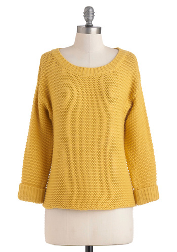What's Yours is Sunshine Sweater by Louche - Mid-length, Yellow, Solid, Long Sleeve, Casual, Fall, Winter, International Designer
