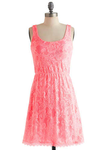 Pink Creatively Dress - Mid-length, Pink, Floral, Lace, Party, A-line, Tank top (2 thick straps), Pastel